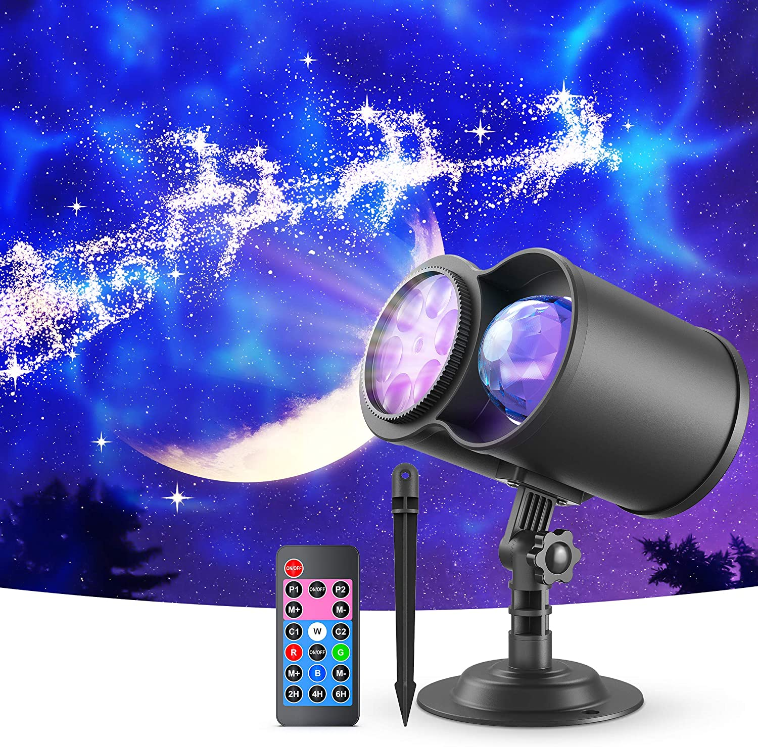 VANKYO Christmas Projector Lights Outdoor, 2-in-1 Ocean Wave LED Waterproof Projection Lights with Remote for Xmas Theme Holiday Party Decorations