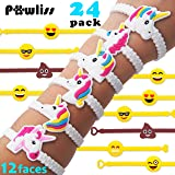 Pawliss Emoji Bracelets Wristband, Unicorn Birthday Party Favors Supplies for Kids Girls, Emoticon Toys Prizes Gifts, Rubber Band Bracelet 24 Pack