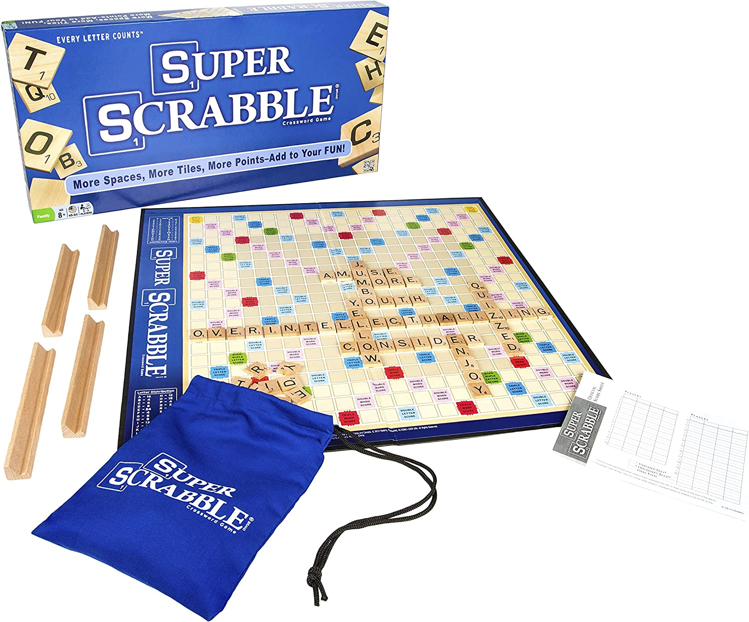 Super Scrabble - The Super-Sized Version of the Greatest Word Game of All Time - 2 to 4 Players - Ages 8 and Up by Winning Moves: Amazon.es: Juguetes y juegos