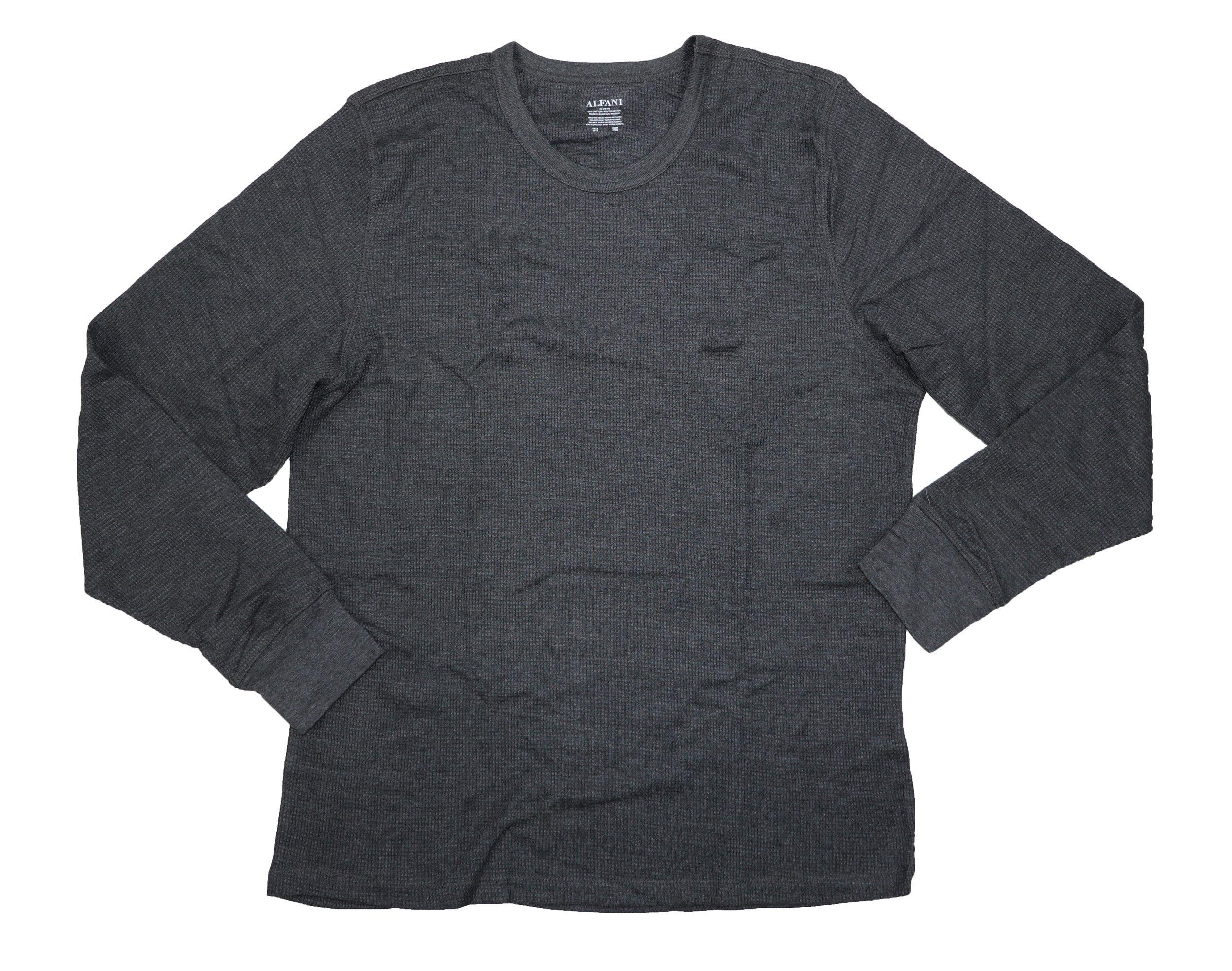 Alfani Men's Thermal Knit Waffle Base Layer Crew Neck Top Shirt, Charcoal, X-Large