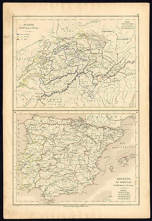 Antiguo ThePrintsCollector mapa-histórico-España-Suiza-Drioux-Leroy-1854: Amazon.es: Hogar