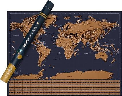 VIVALOO Mapa Mundi para rascar - Poster del Mundo para Pared- Mapa para rascar (Marrón): Amazon.es: Juguetes y juegos