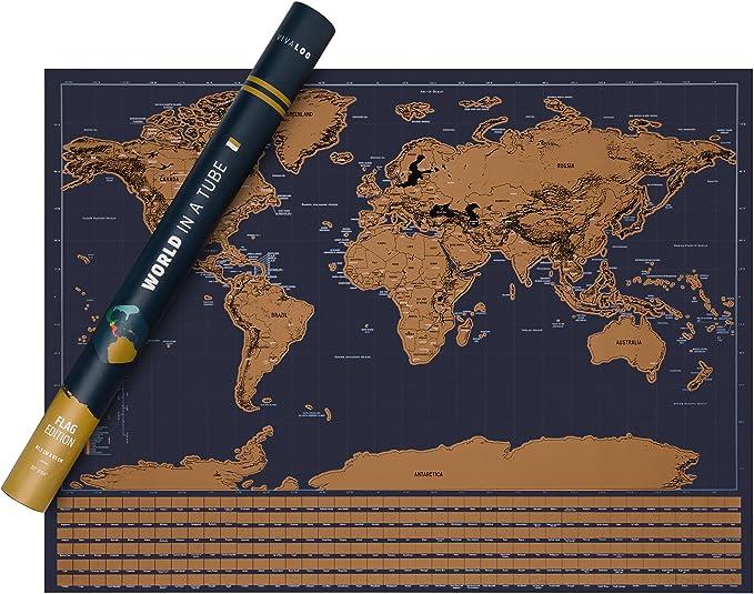 VIVALOO Mapa Mundi para rascar - Poster del Mundo para Pared- Mapa ...