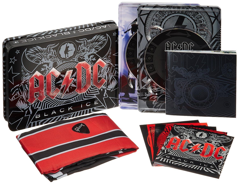 Ac Dc Black Ice Steelbox Inkl Cd Dvd Flagge Sticker Set Und Original Gibson Gitarren Plektrum Ac Dc Musik