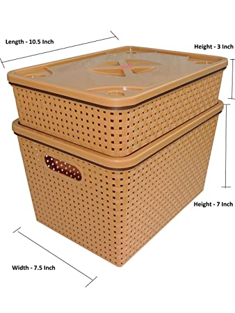 bagathon india woven design plastic storage box 10 litres 2 piece tray and basket