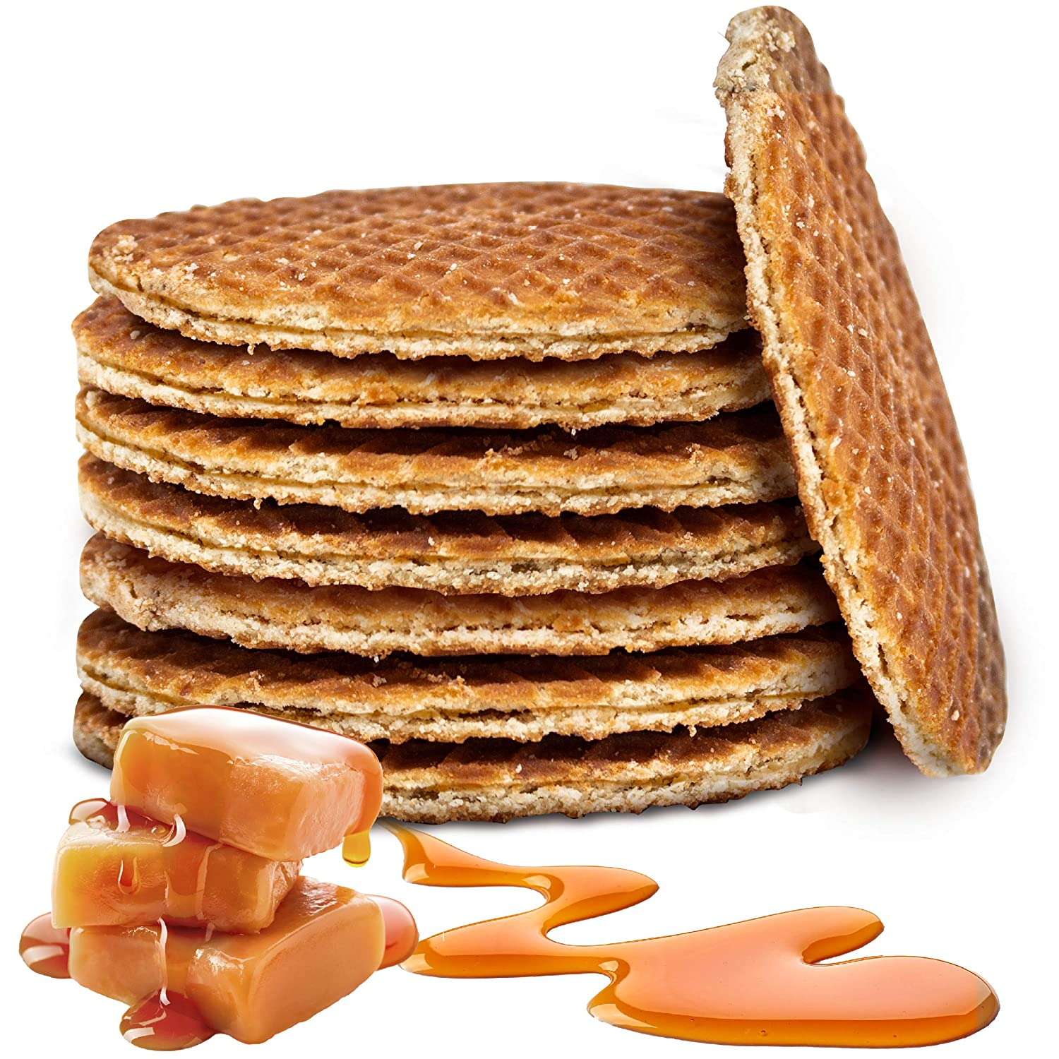 Amazon Com Double Dutch Stroopwafels Traditional Holland Syrup Waffle Cookies Wafer Snack Non Gmo Caramel 8 Piece Grocery Gourmet Food