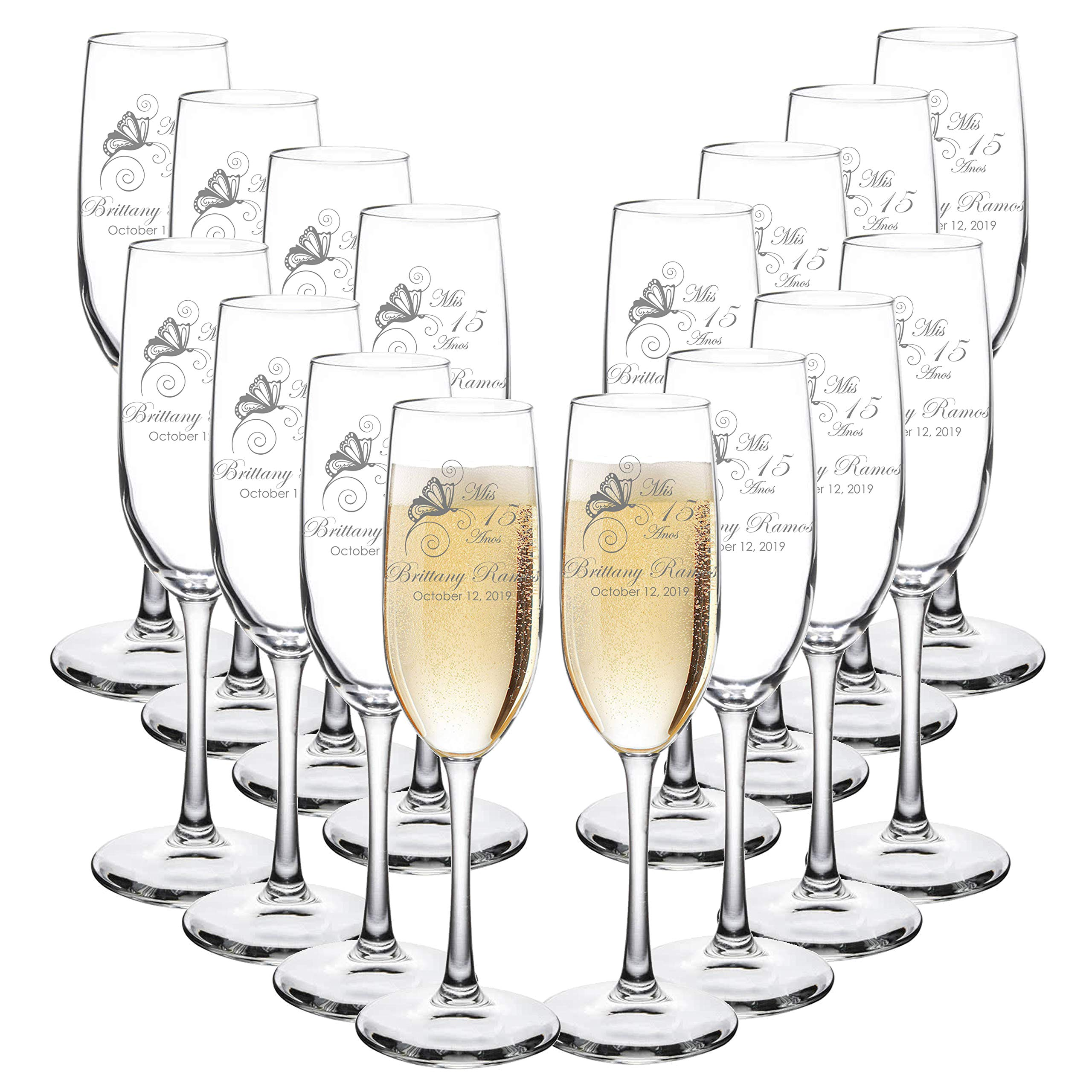 Custom Engraved Quinceanera Cotillion or Debutante Champagne Flutes - Butterfly Design - Choose Set of 2 or 16 - Laser Engraved with Name and Date (Set of 16)