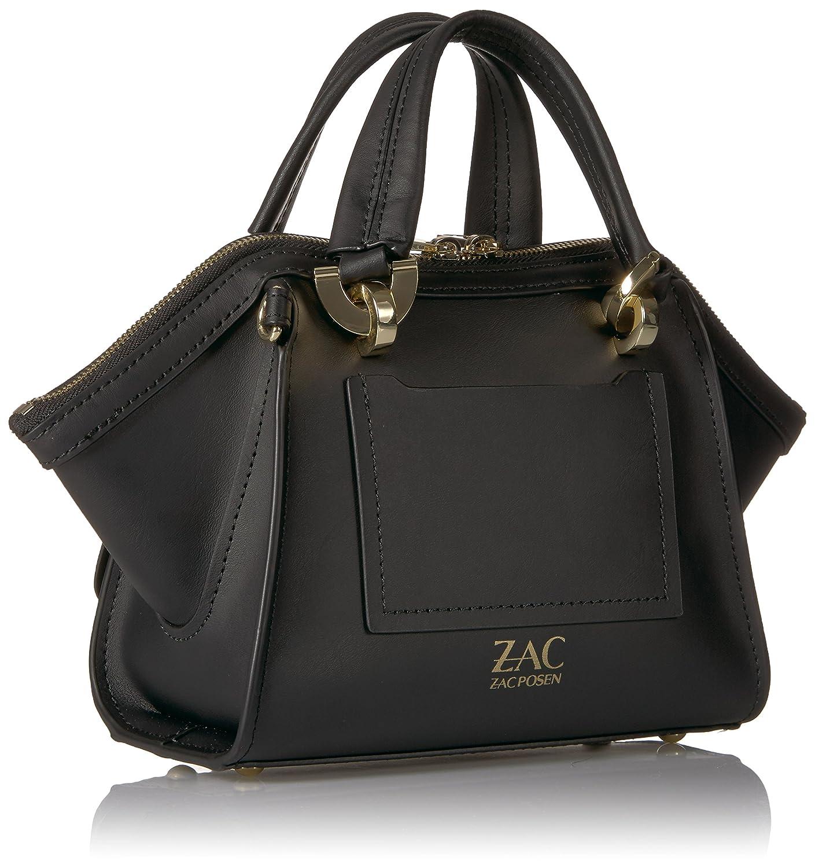 ZAC Zac Posen dam ikonisk dubbel handtag-päls pom jorden, kultig, minidesign, dubbelhandtag, pälspussla svart