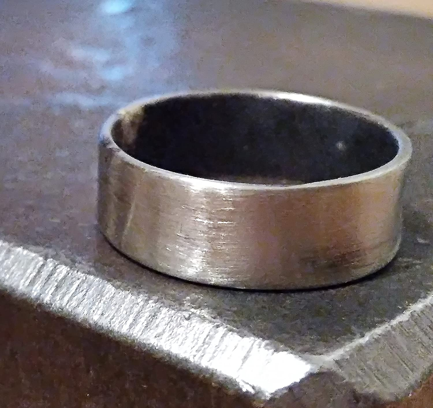 Mens Wedding Band Silver Oxidized Ring Band Wide Masculine Wedding Band Rustic Mens Band Unisex Ring Silver