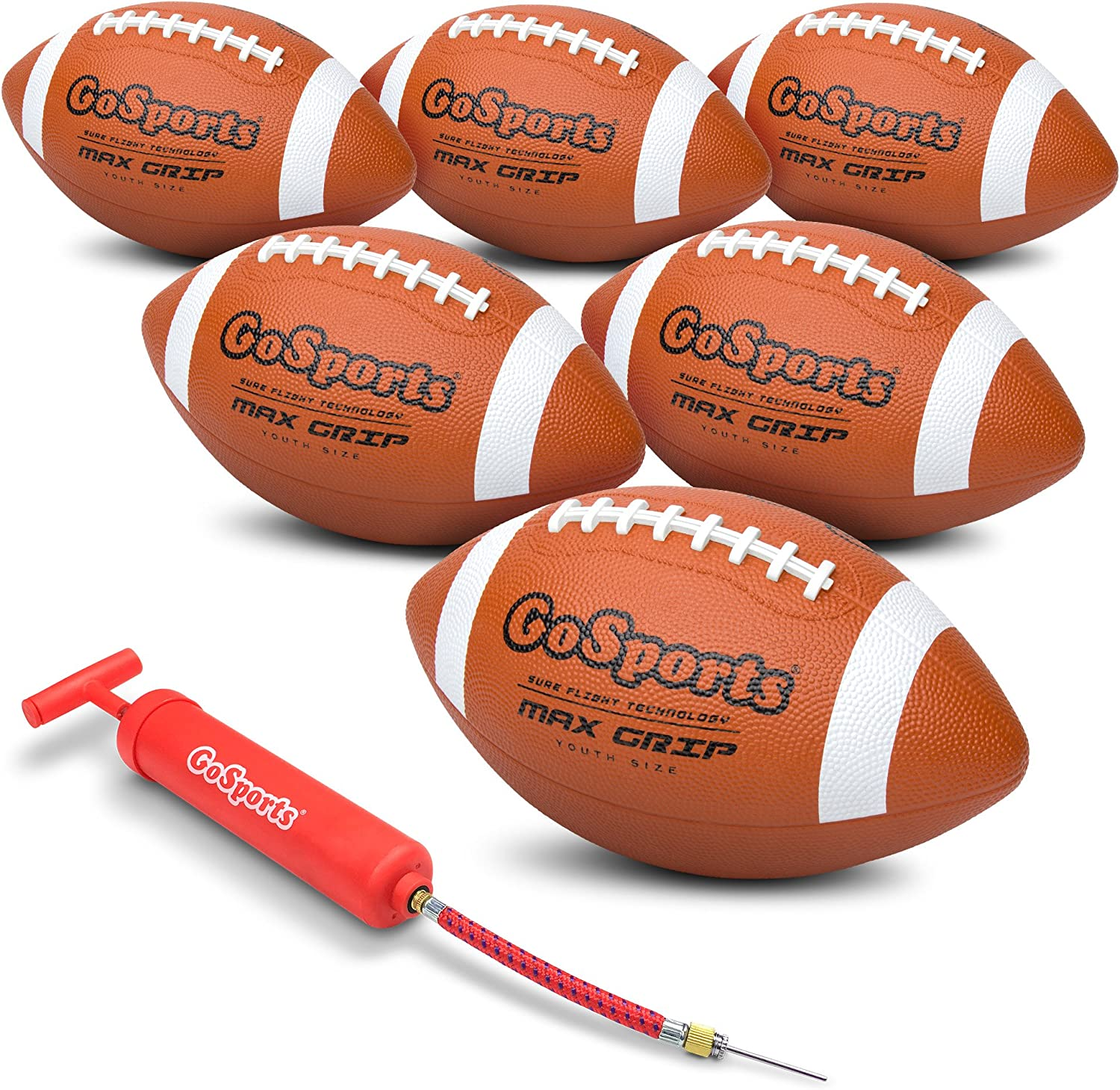 GoSports Rubber Footballs - 6 Pack of Youth Size Balls with Pump & Carrying Bag
