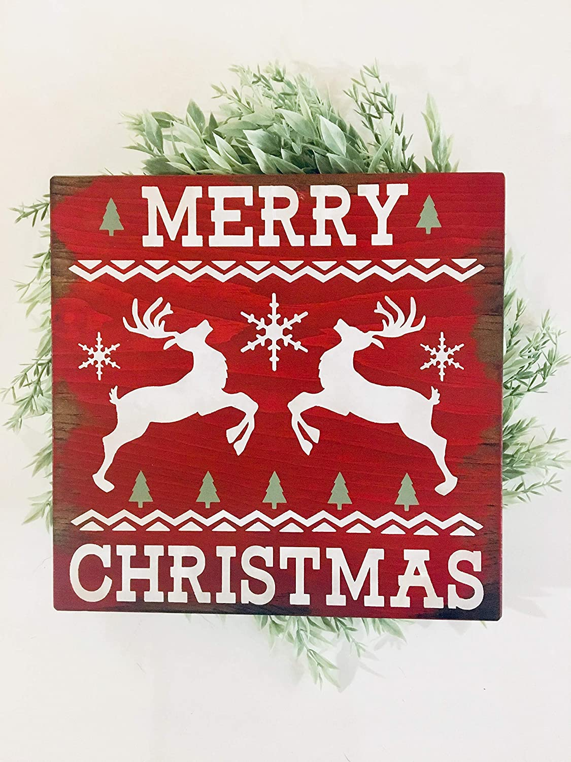 Christmas Rustic Farmhouse Plaque Wall Hanging Signs with Deer Wreath Supplies