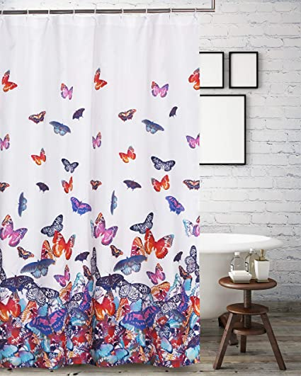 Amazon Barefoot Bungalow Mariposa Shower Curtain Multicolor