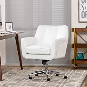 Serta Style Ashland Home Office Chair, Bonded Leather, White