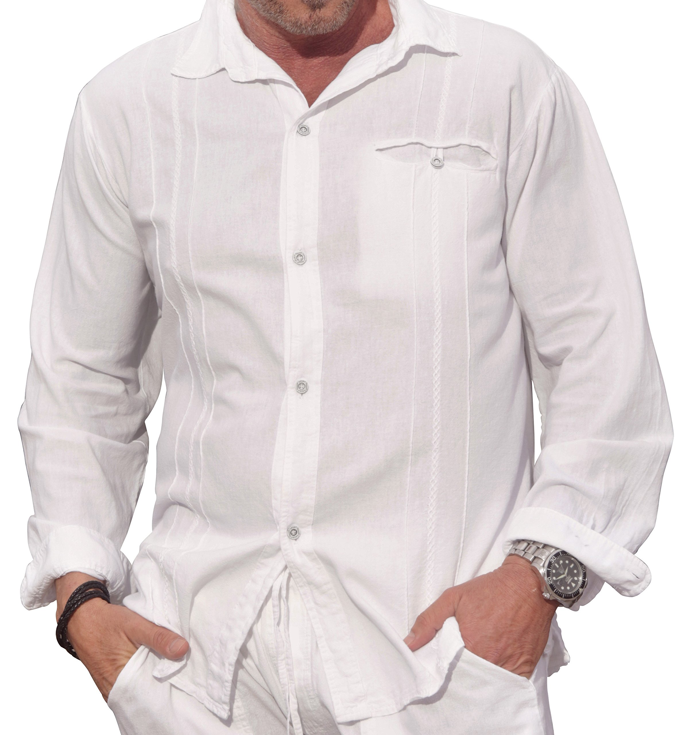 M&B USA Cotton White Long-Sleeve Button Loop Closure Pocket Organic Embroidered Button Down Shirt (XX-Large, White) by M&B USA (Image #2)