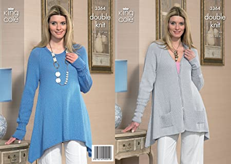821630457 Image Unavailable. Image not available for. Colour  King Cole Baby Alpaca  DK Ladies Sweater   Cardigan Knitting Pattern 3364