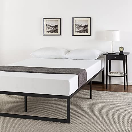 zinus 14 inch metal platform bed frame with steel slat support mattress foundation queen