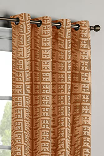 Window Elements Greek Key Cotton Blend Extra Wide 108 x 96 in. Grommet Curtain Panel Pair, Rust
