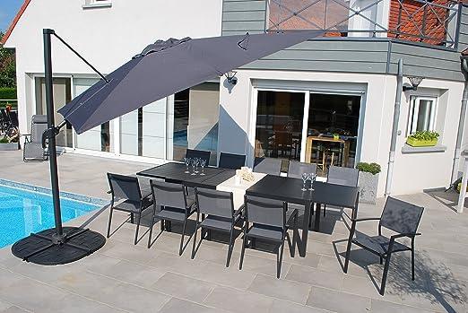 Salón de jardín Vital 300 Antracita – Mesa extensible (200/300 x 100 cm con 10 sillones clara y 1 sombrilla (3 x 3 m: Amazon.es: Jardín