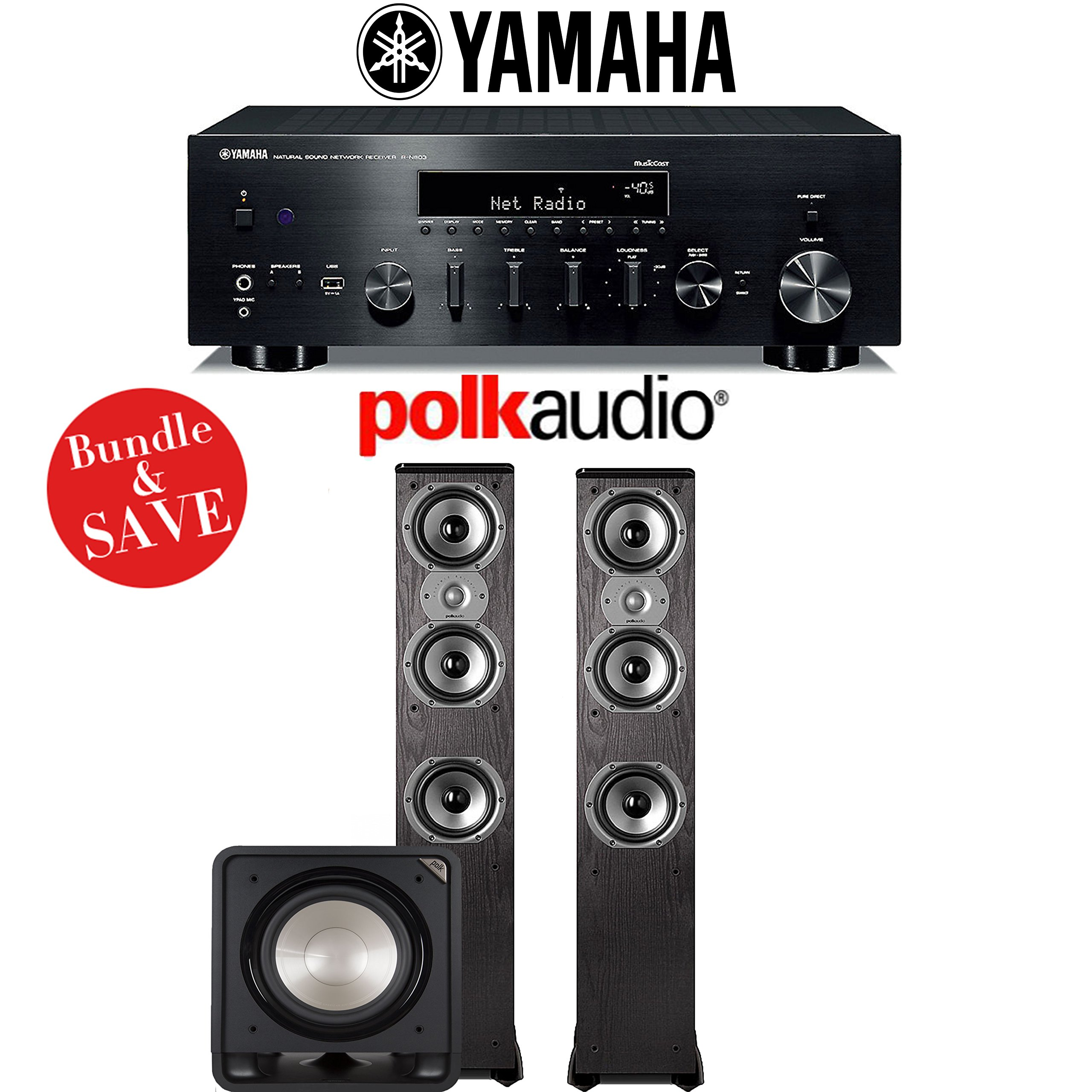 Yamaha R-N803BL Network Stereo A/V Receiver + Polk Audio TSi 400 + Polk Audio HTS12 - 2.1-Ch Home Theater Package by Yamaha