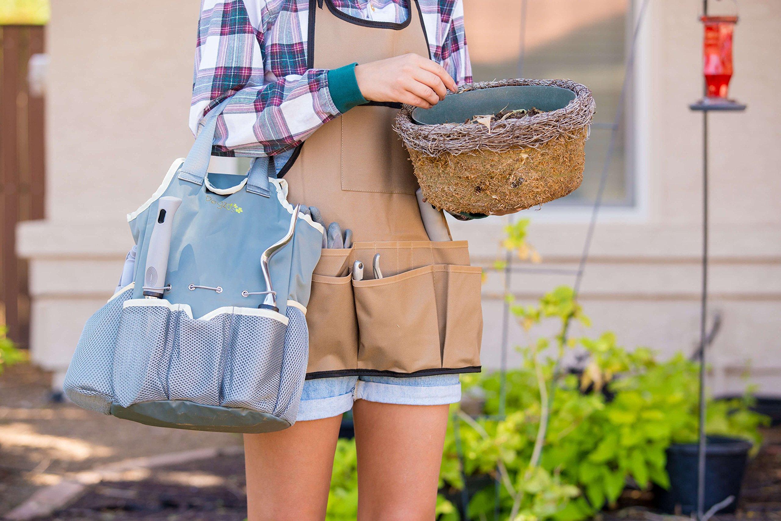 PEGZOS 10 Piece Garden Tools Set Gardening Tools with Garden Gloves, Gardener Apron and Garden Storage Tote, Gardening with Garden Trowel Pruners Clippers, Garden Hand Tools by PEGZOS (Image #7)