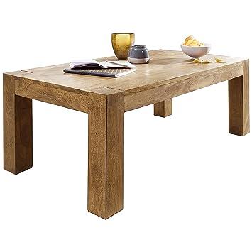 Wohnling Couchtisch Massiv-Holz Akazie 110 cm breit Wohnzimmer-Tisch ...
