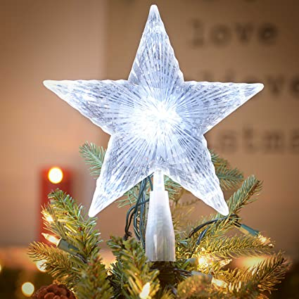 gerson crystal 5 point star light up christmas tree topper holiday decoration 10 inch