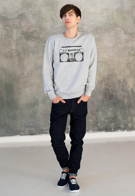 Ghettoblaster Sweatshirt Retro Boom Box Boombox Hip Hop Printed Sweater Jumper Top