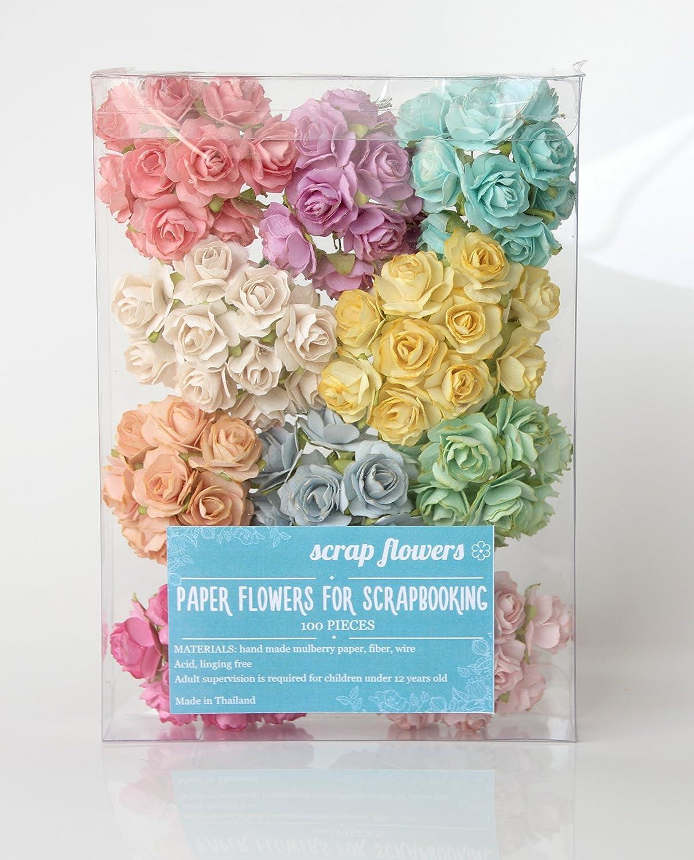 Amazon Scrapflowers 100 Tea Paper Rose Flowers For Scrapbooking