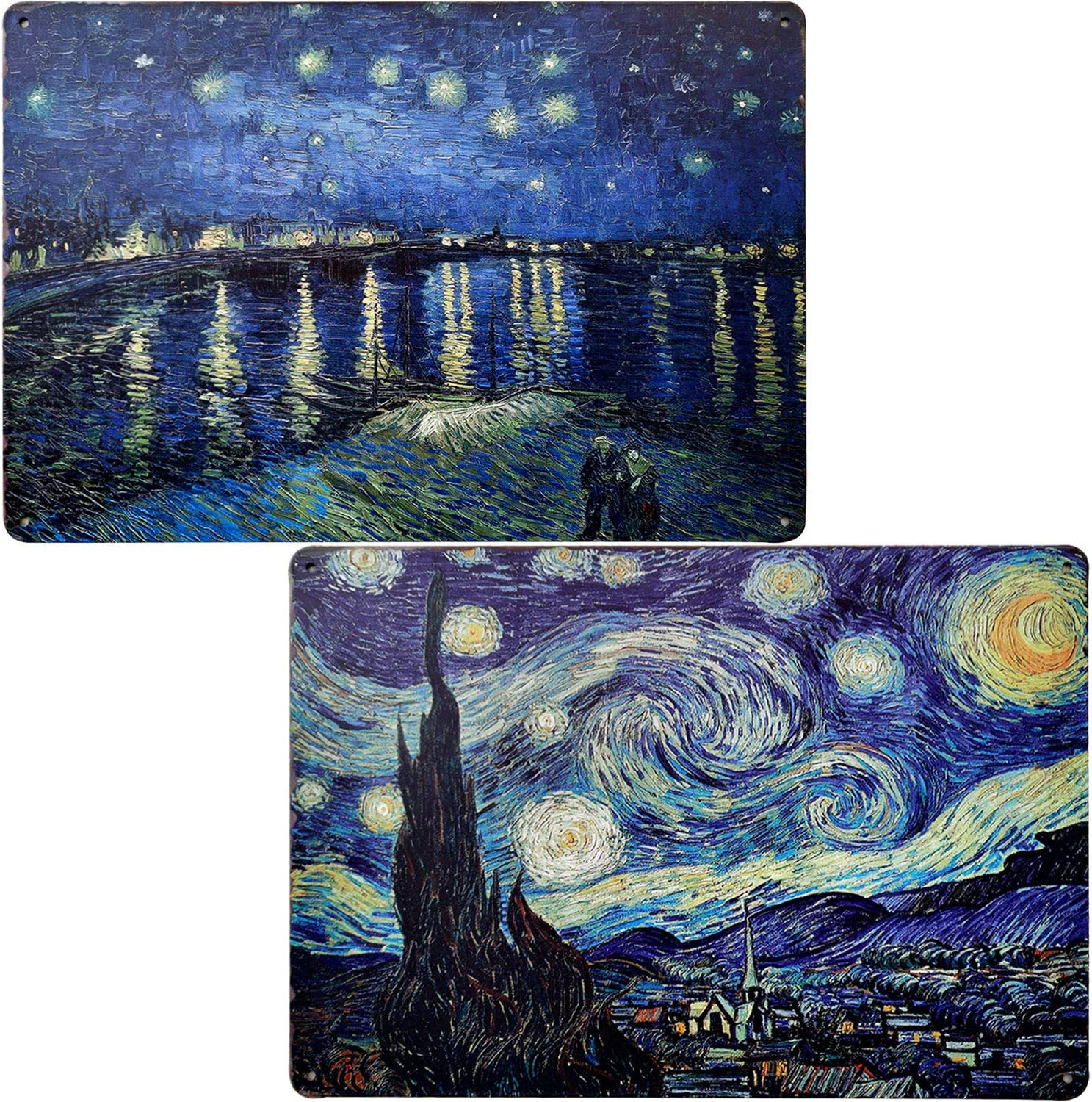 Landscape Painting The Starry Night Vintage Bar Metal Tin Sign Poster Style Wall Art Gifts for Bathroom Bedroom Living Room Decor 2Pcs-8X12Inch