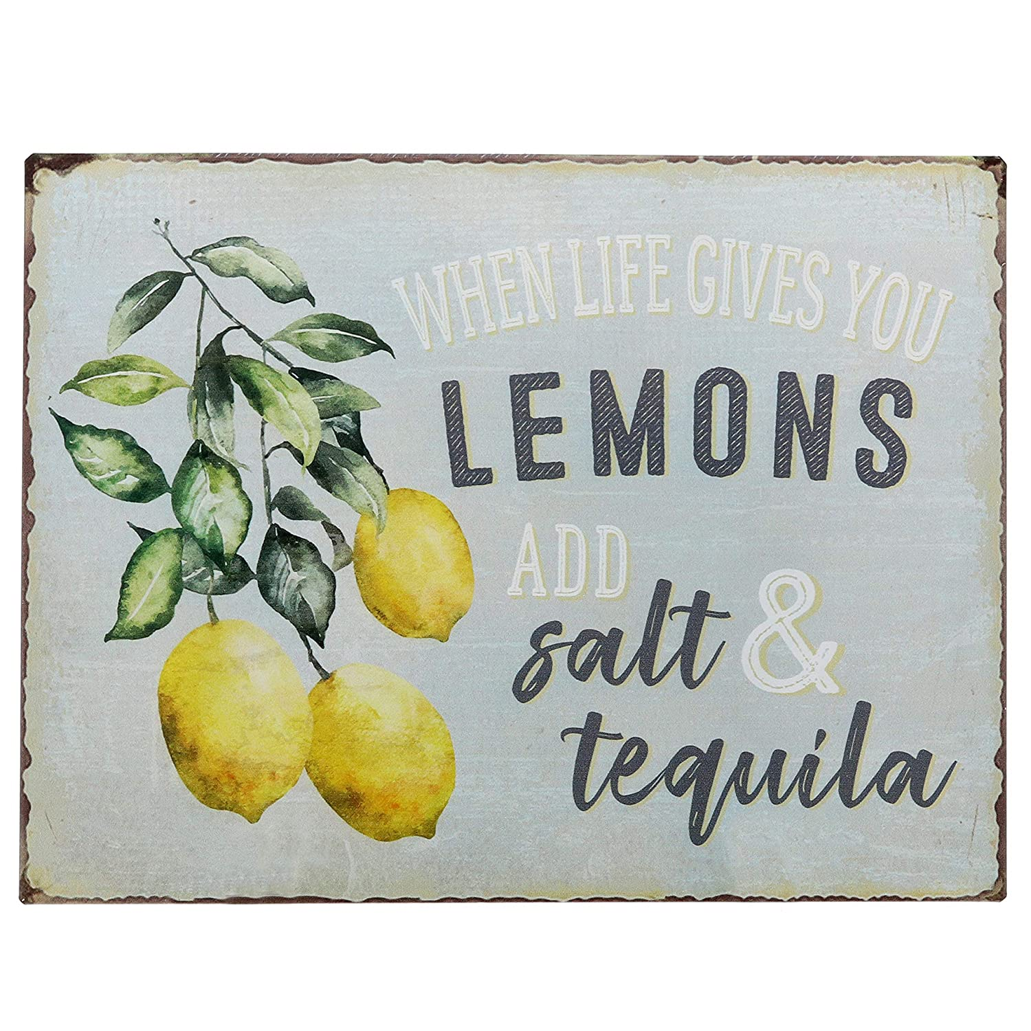"Barnyard Designs When Life Gives You Lemons Add Salt & Tequila Funny Retro Vintage Tin Bar Sign Country Home Decor 13"" x 10"""