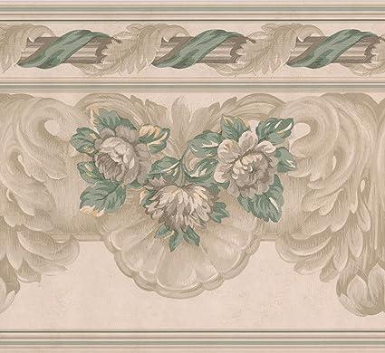 Beige Green Grey Floral Wide Wallpaper Border Retro Design
