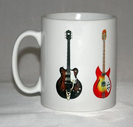 Taza de guitarra. Las ilustraciones de guitarra de los Beatles ...