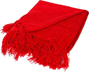 BIRDROCK HOME Internet's Best Chenille Throw Blankets - Red - Ultra Soft Couch Blanket with Fringe - Light Weight Sofa Throw - 100% Microfiber Polyester - Easy Travel - Bed - 50 x 60