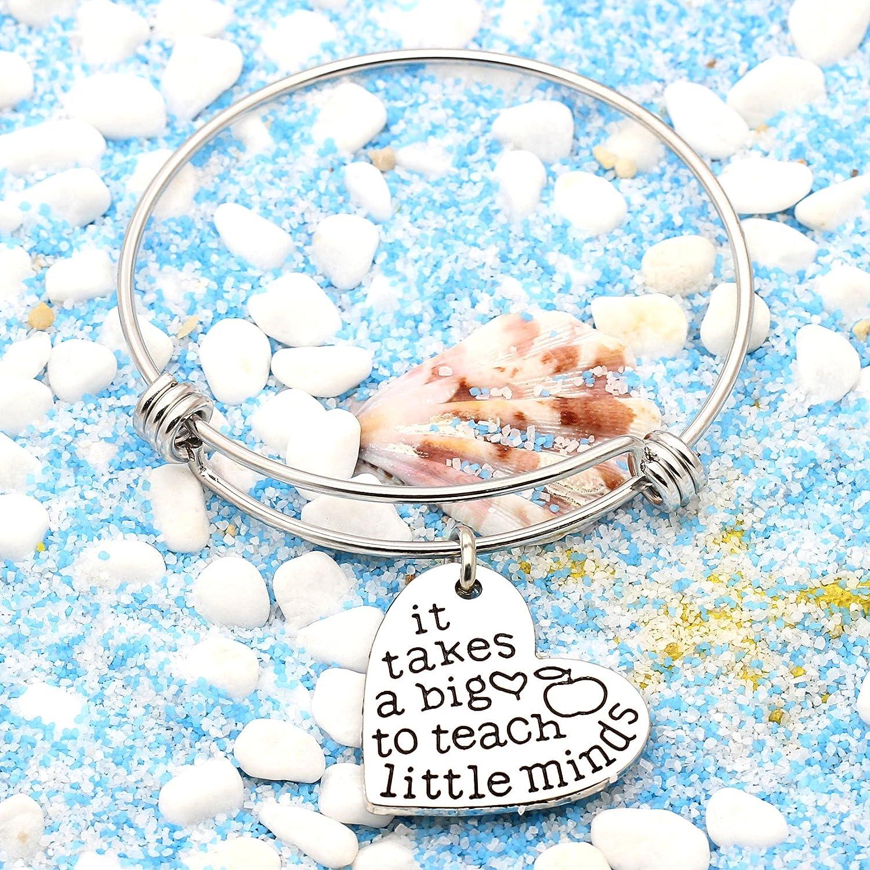 Term Begins//end Teachers Gift Bangles It Takes a Big Heart to Teach Little Minds Expandable Bracelets