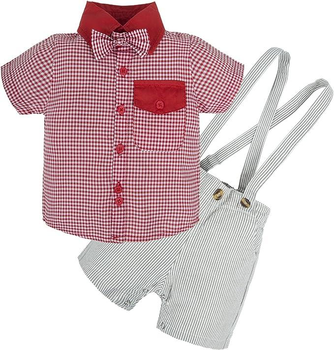 BIG ELEPHANT Camicia a quadri a maniche corte da bambino in 2 pezzi con bretelle U46 a righe