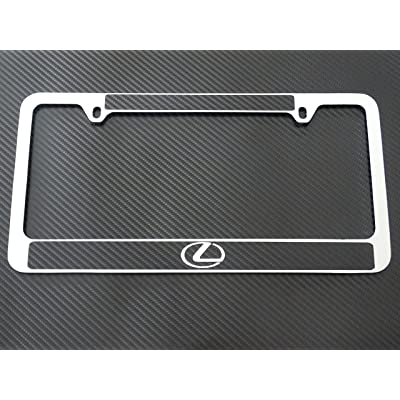 AtoZCustoms Lexus Logo License Plate Frame Chrome Metal, Carbon Fiber Details: Automotive