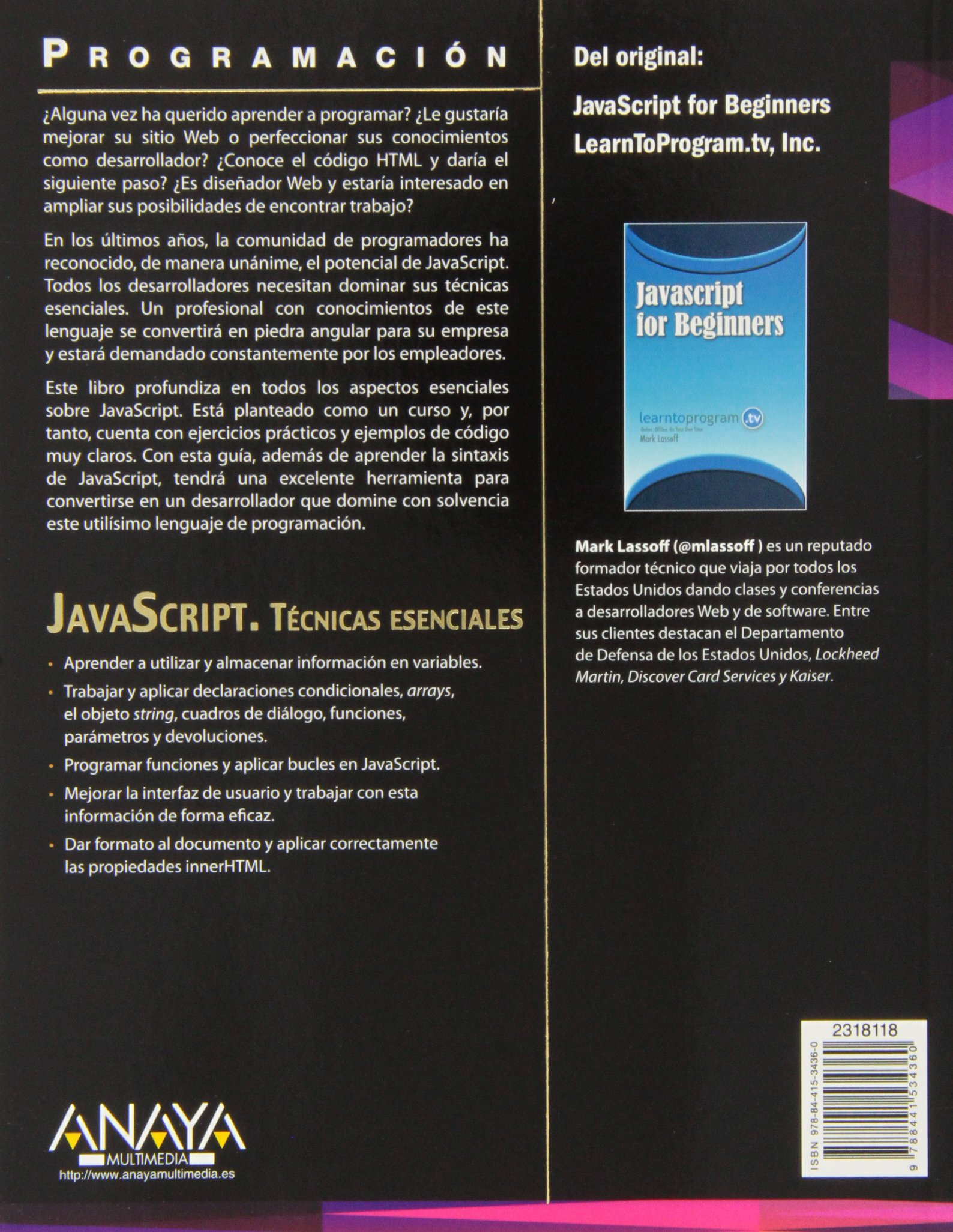 JavaScript. Técnicas esenciales (Programación): Amazon.es: Mark Lassoff: Libros