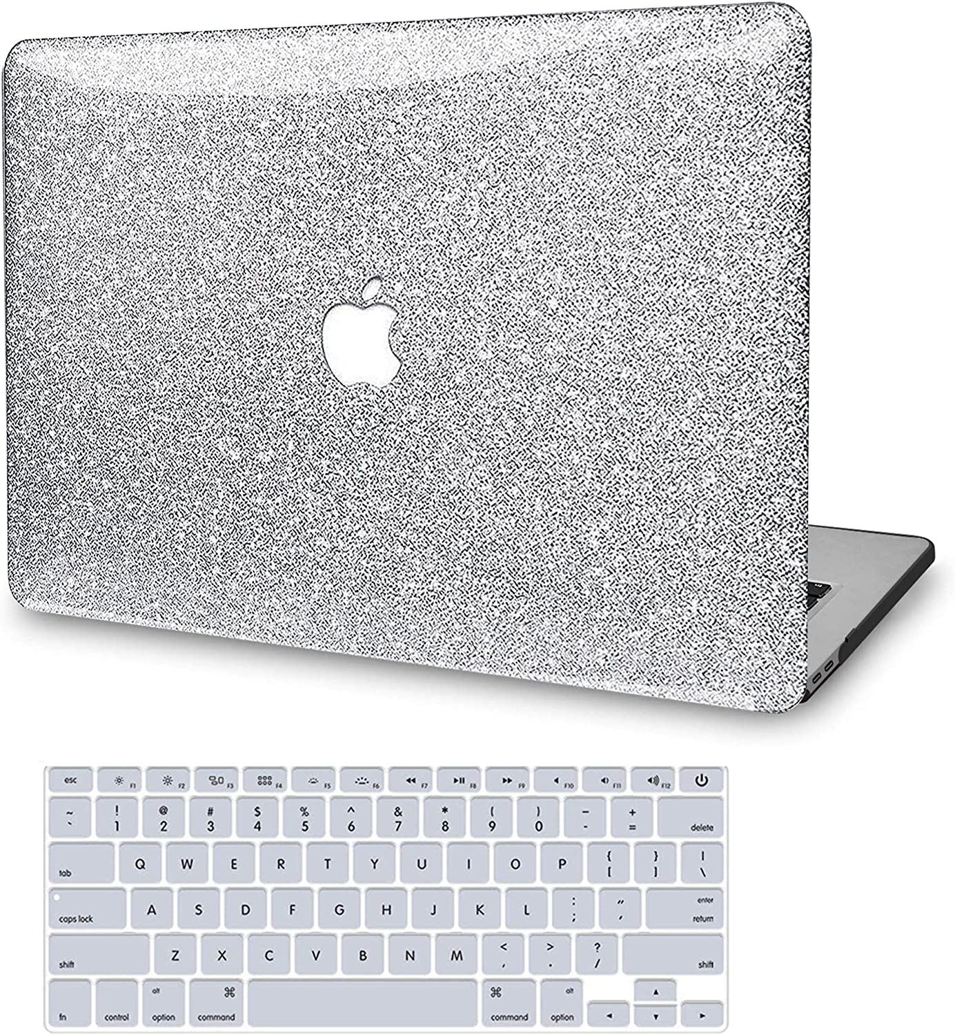 MacBook Pro 13 Inch Case 2020 2019 2018 2017 2016 Release A2251 A2289 A2159 A1989 A1706 A1708, JGOO Glitter Sparkly Plastic Hard Shell with Keyboard Cover for Mac Pro 13 with/Without Touch Bar, Silver