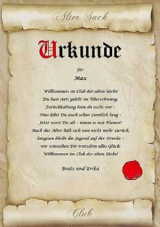 Urkunde ALTER SACK Club Der Alten Säcke Personalisiert Geschenk Karte  Pergament Div. A4 Papier Motive