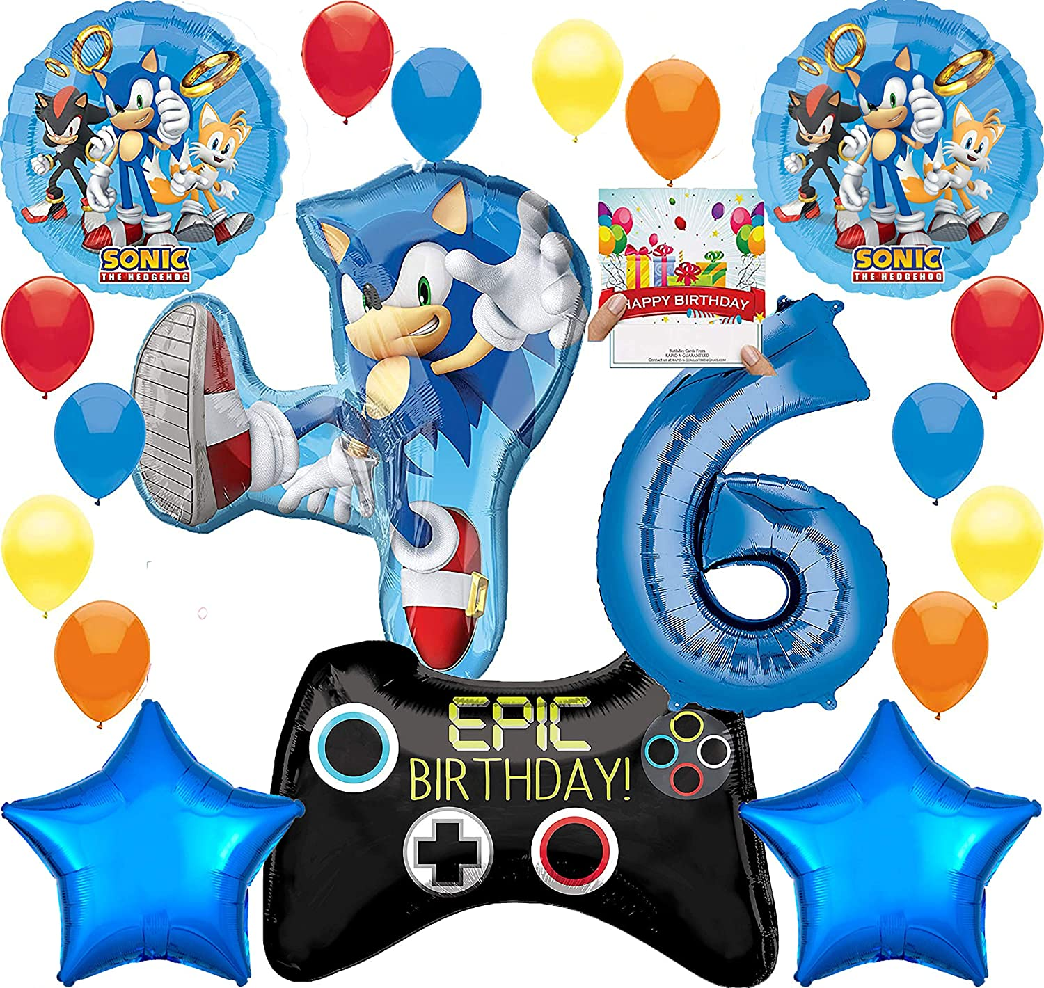 Amazon Com Sonic The Hedgehog Party Supplies Gamers 6th Birthday Balloon Decoration Bundle With Birthday Card By Rapidnguaranteed Toys Games