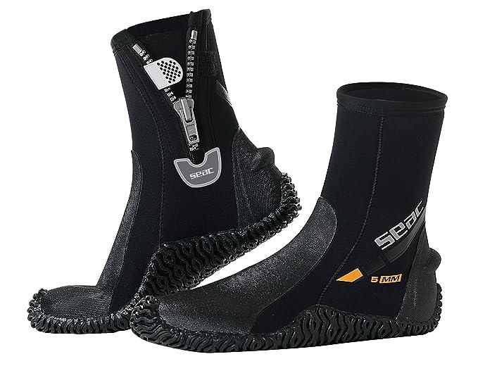 Seac Basic HD, Füßling aus 5 mm Neopren und fester Laufsohle, Taucherschuhe für Geräteflosse