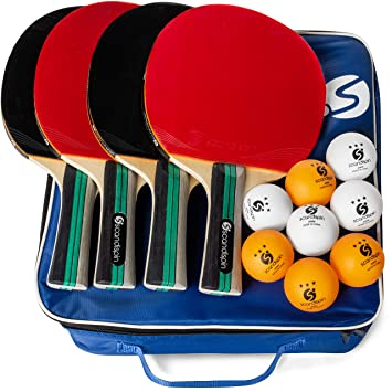 Scandi Spin Ping Pong Paddle - Juego de 4 Palas y 8 Bolas, Incluye ...