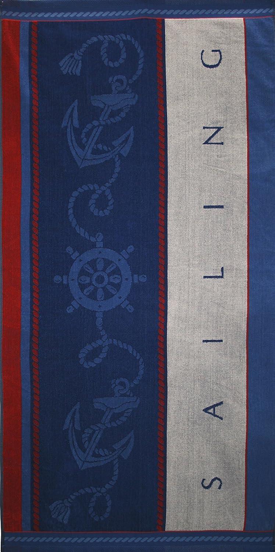 BETZ Telo Mare Asciugamano in velutto Sailing 100/% Cotone 75x150cm