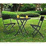 SoBuy® OGT02 - Lot de 1 table 2 chaises pliables Meuble bistrot bar terrasse balcon rotin tressé Noir