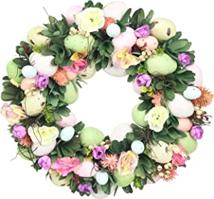 Athoinsu 11'' Vintage Easter Wreath with Multi Colored Pastel Eggs for Front Door Wall Decor Spring Festival Ornaments Gifts for Kids Family