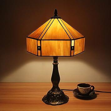 12 pulgadas pastoral amarillo simple vidriera Tiffany estilo lámpara de mesa lámpara de dormitorio lámpara de cabecera