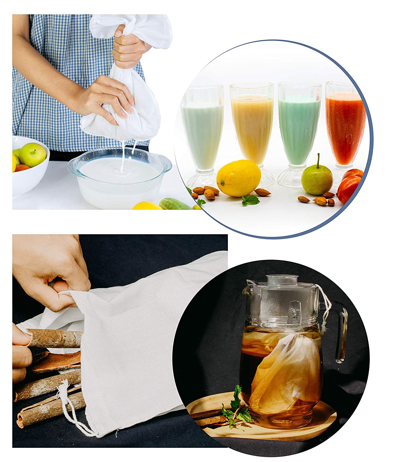 /[2 Pack/] Premium Cotton Nut Milk Bag and Food Grade Nylon Mesh