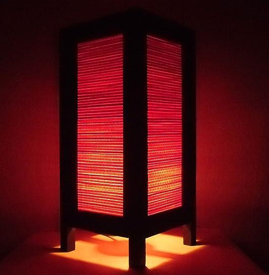 Rare Asie Thaï Lampe De Tables Bouddha Style Chevet Rouge Bambou