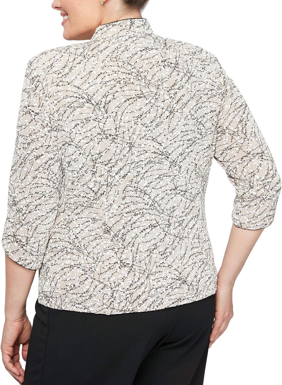 Women/'s Floral Jewel Neck 3//4 Sleeve Plus Size Slinky Print Travel Casual