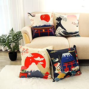 LIGICKY Japanese Style Cotton Linen Decorative Throw Pillow Cover, Fuji Mountain Print Square Pillow Cases Cushion Covers for Couch Sofa Bed Home Decor (18x18 Inches, Set of 4)